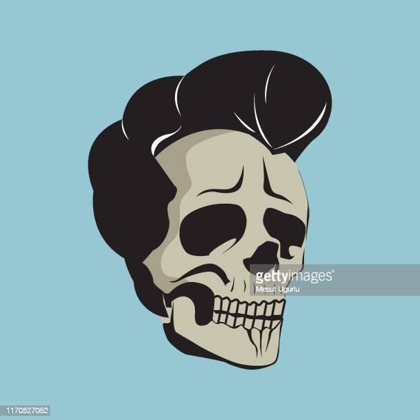 ハンサムな頭蓋骨 - ポンパドール点のイラスト素材/クリップアート素材/マンガ素材/アイコン素材