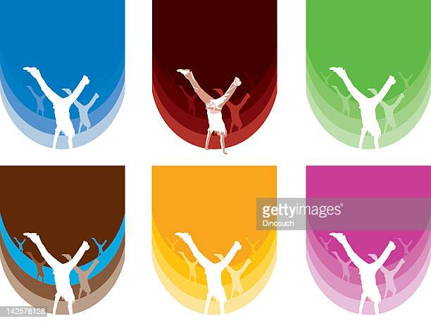 handstand colours - gymnastics stock illustrations