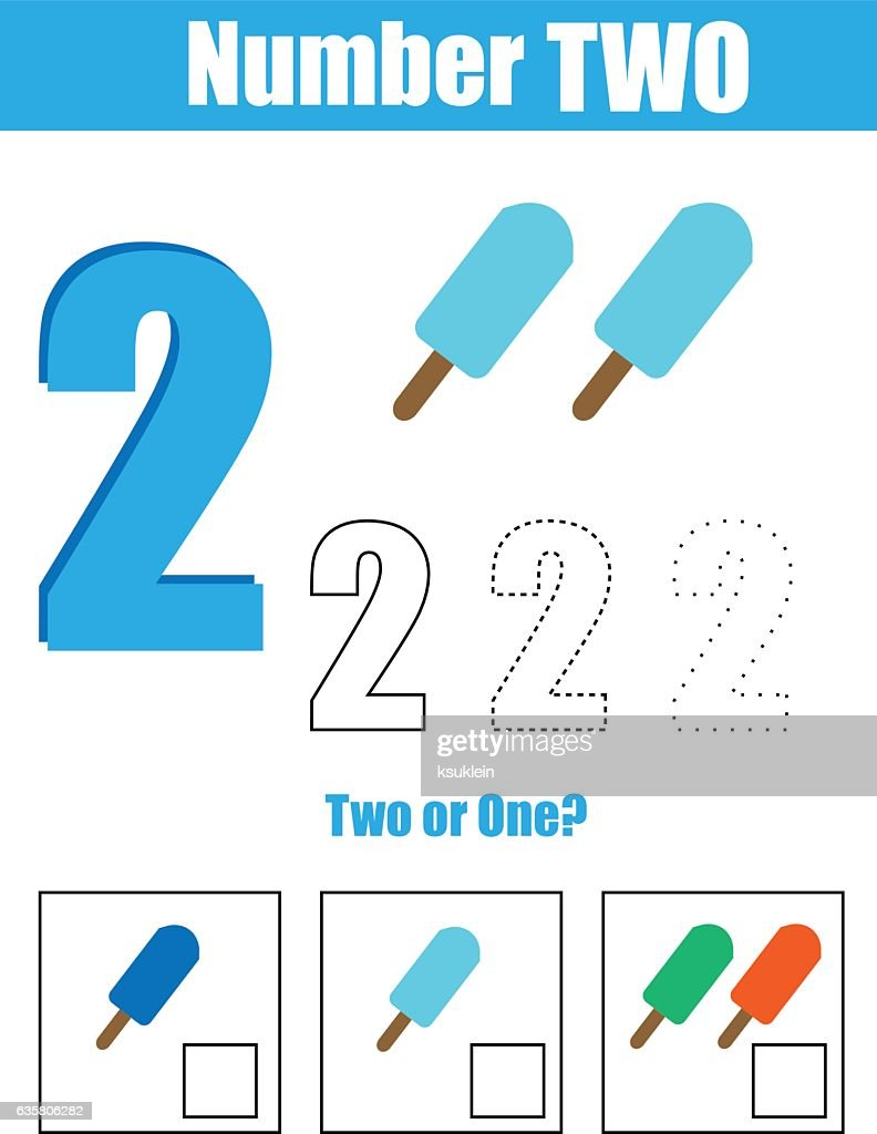 Handwriting practice. Learning mathematics and numbers. Number two. Educational children