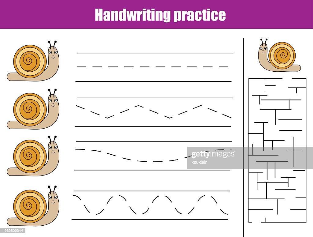 Handwriting practice sheet. Educational children game, printable worksheet for kids