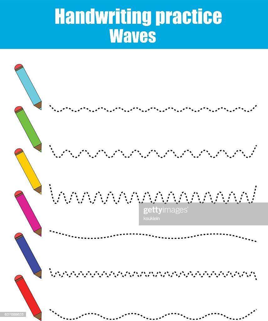 Handwriting practice sheet. Educational children game. Printable worksheet, drawing waves