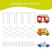 Handwriting practice sheet.