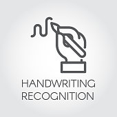 Handwriting recognition line icon. Hand holding pen and writing signature, image drawn in outline style. Linear label