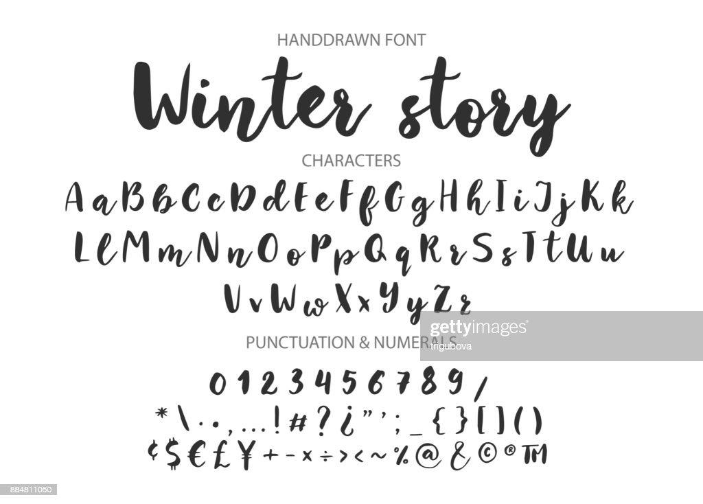 Handwritten Brush font. Hand drawn brush style modern calligraphy