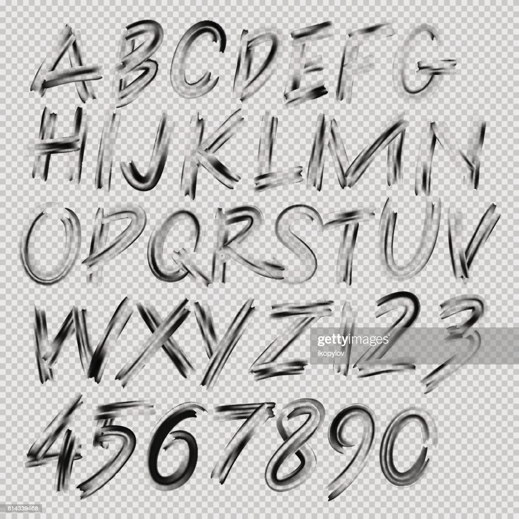 Handwritten brush font, letters and numbers