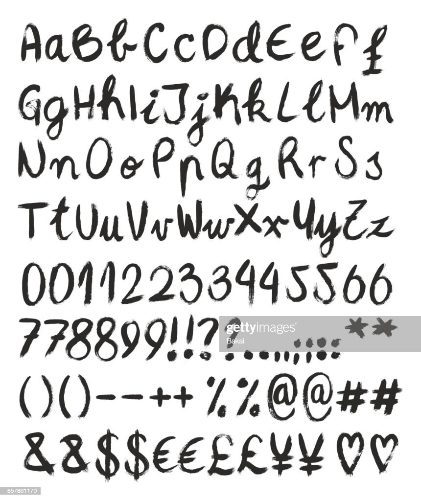 Handwritten Brush Font with Capital & Script Letters, Numbers & Signs