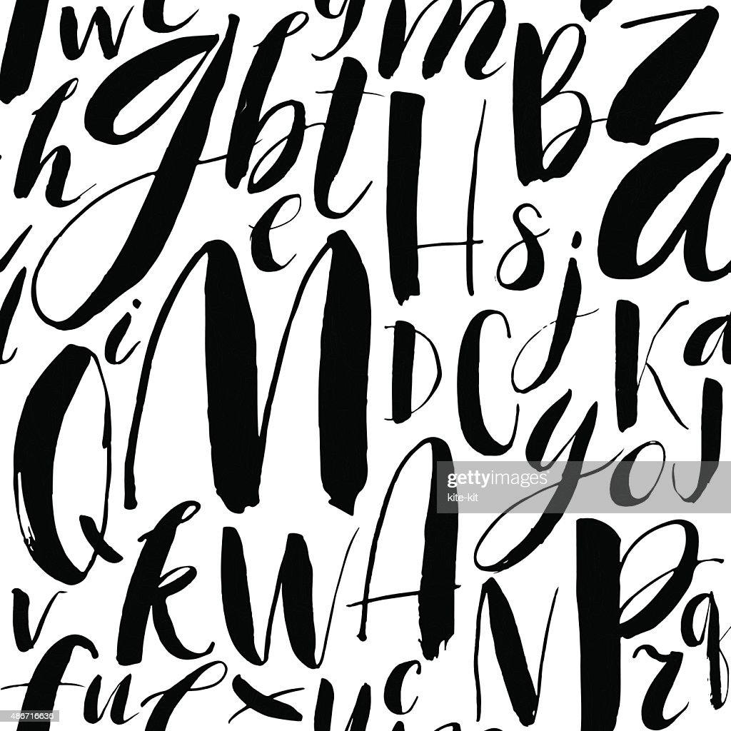 Handwritten calligraphic font seamless background.