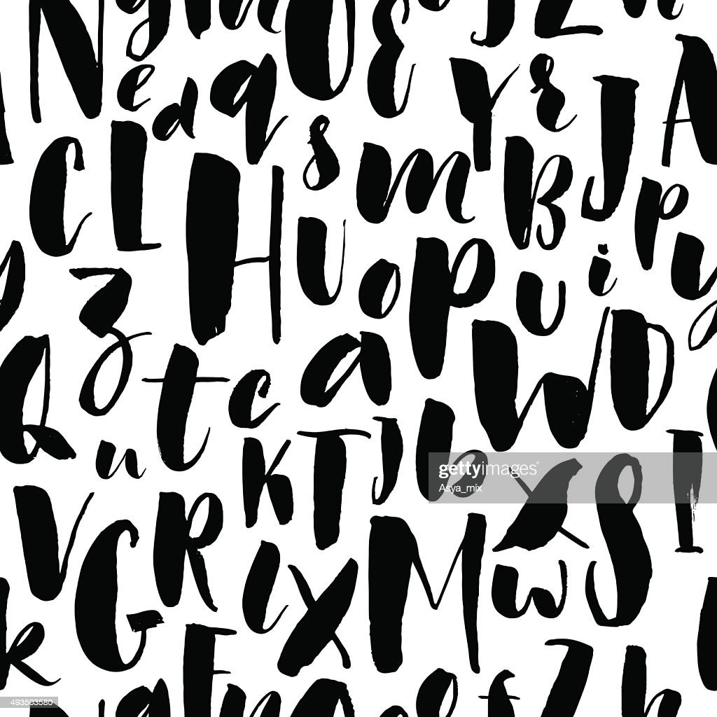 Handwritten calligraphic font seamless background.