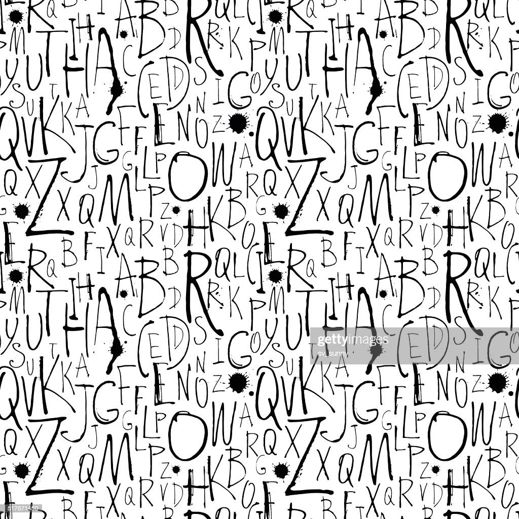 Handwritten calligraphy and lettering seamless pattern.