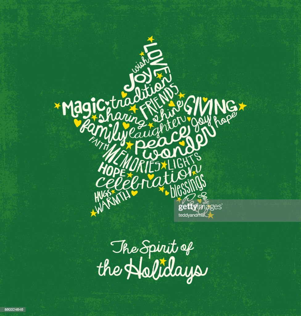 Handwritten Christmas words in star shape. Word Cloud design for greeting cards, web banners, print materials.