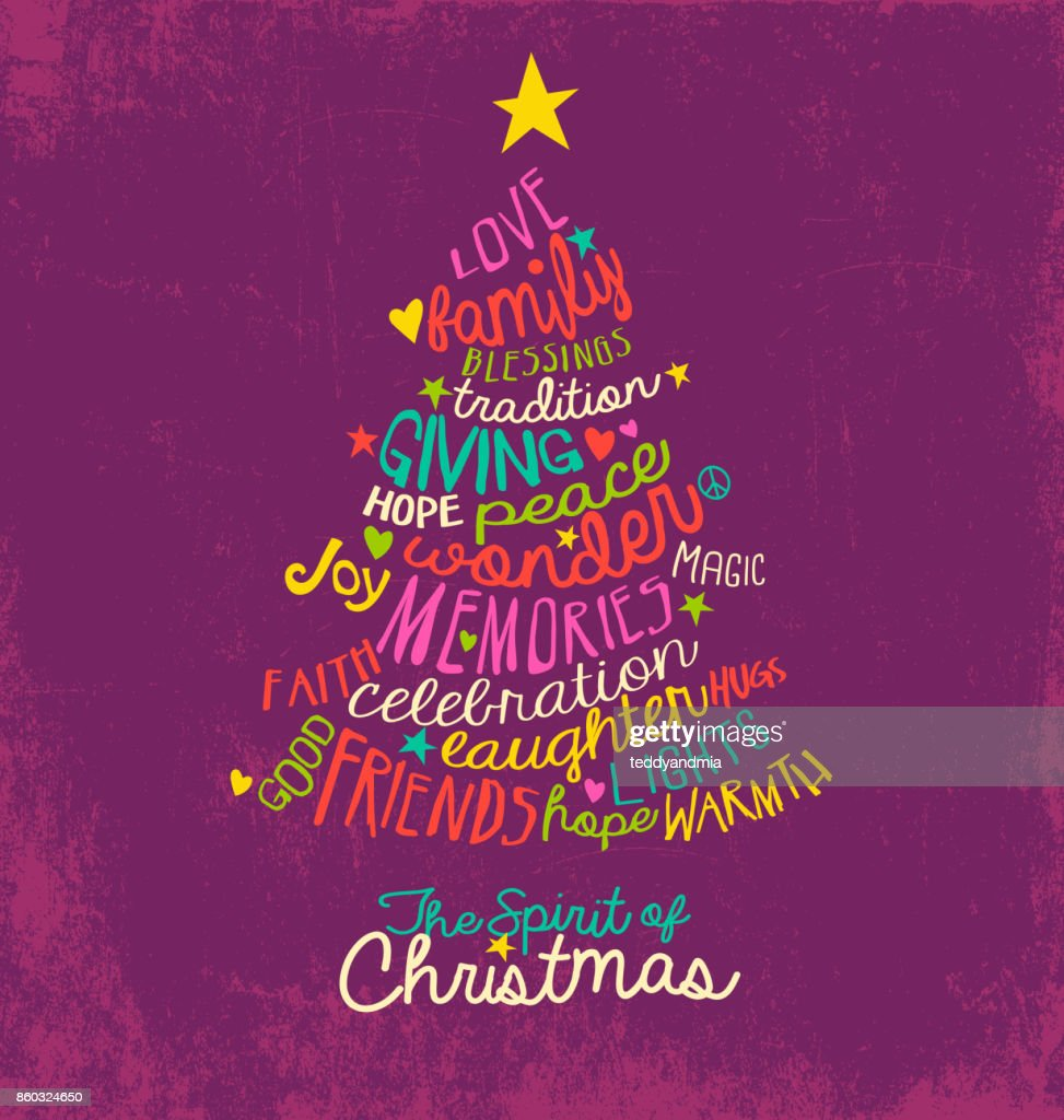Handwritten Christmas Words In Tree Shape Word Cloud Design For