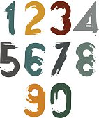 Handwritten contemporary vector digit set, hand-painted numbers