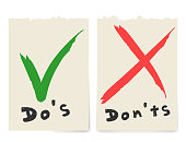 Handwritten Do and Dont check tick mark and red cross checkbox icons lettering design isolated on white background.