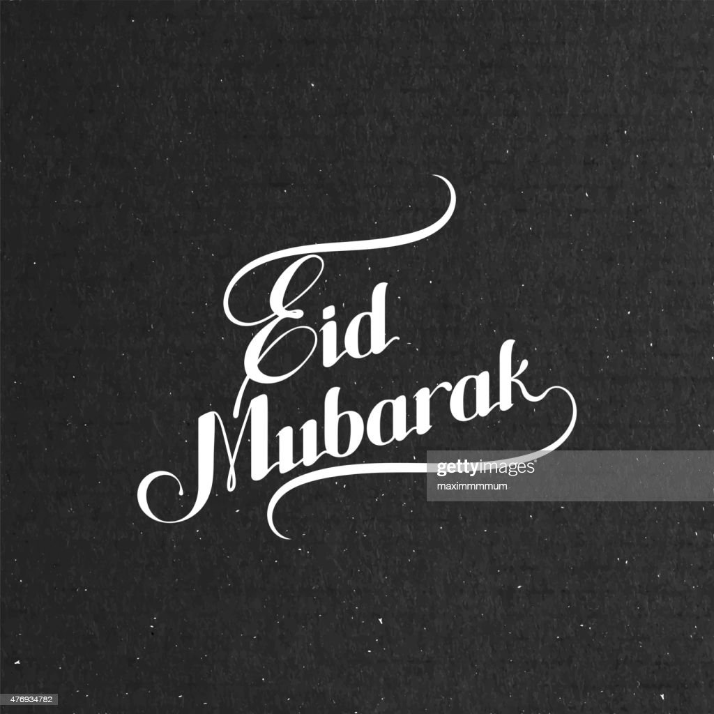 handwritten Eid Mubarak retro label