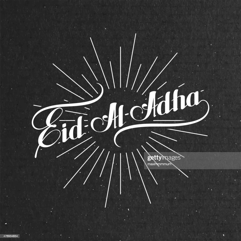 handwritten Eid-Al-Adha retro label with light rays