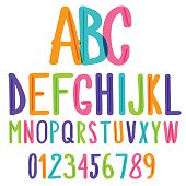 handwritten font, colorful kids sketch alphabet and numbers