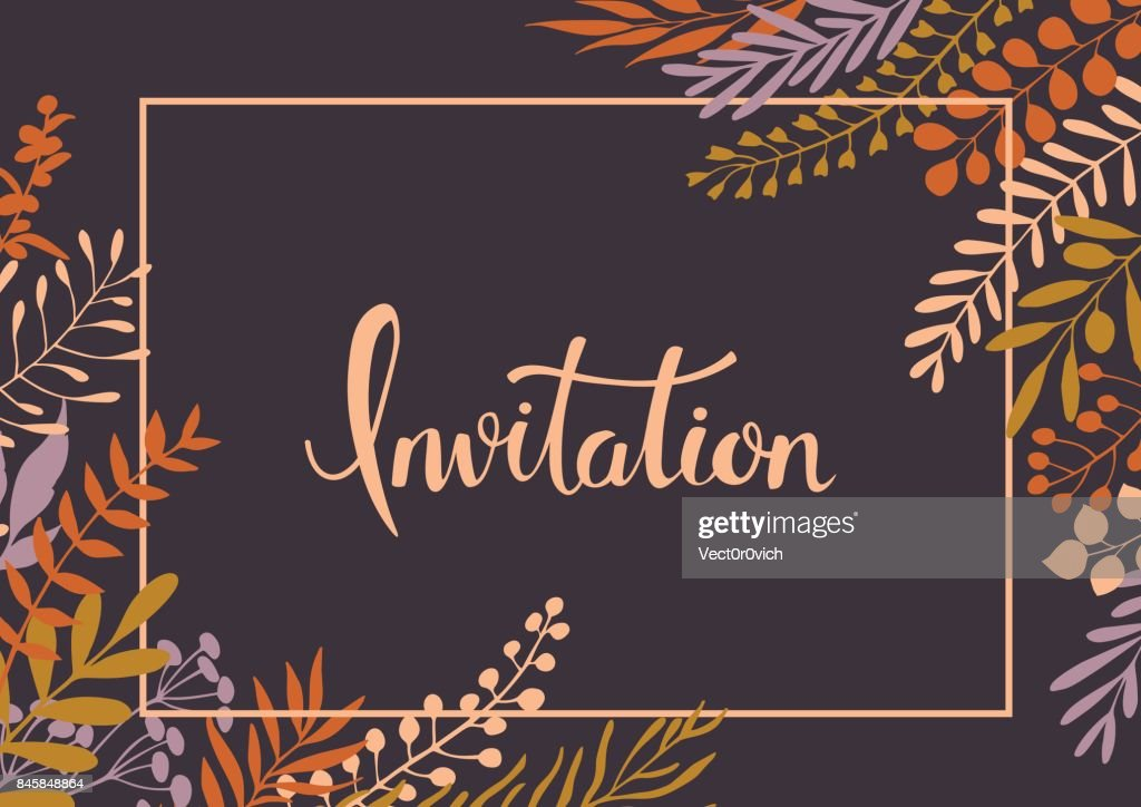 handwritten hand drawn elegant floral twigs and branches invitation background