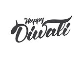Handwritten lettering composition of Happy Diwali. Vector illustration.