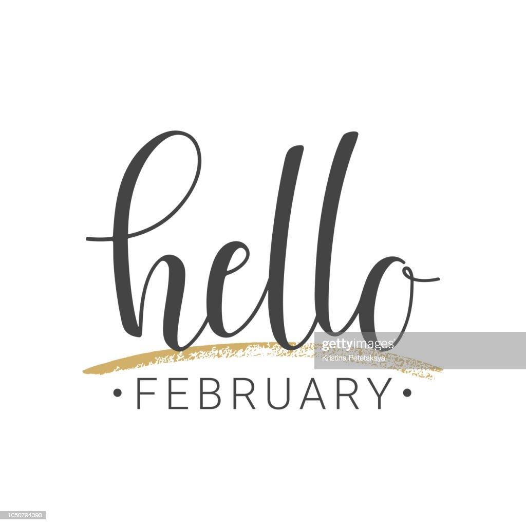 Handwritten lettering of Hello February on white background
