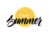 Handwritten lettering of Hello Summer on hand drawn brush textured sun