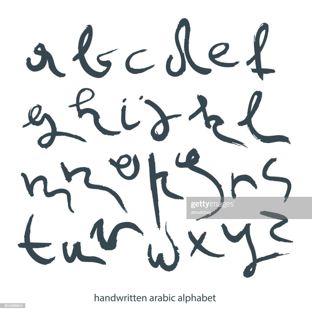 Handwritten  lowercase black letters in Arabic style.