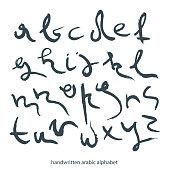 Handwritten  lowercase black letters in Arabic style.
