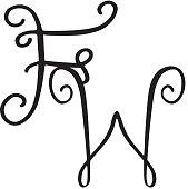 Handwritten monogram FW icon