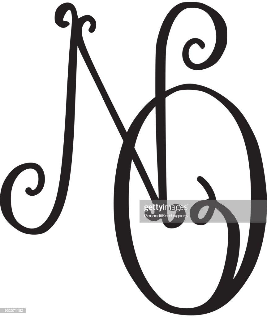 Handwritten monogram NO icon