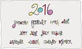 Handwritten months calligraphy