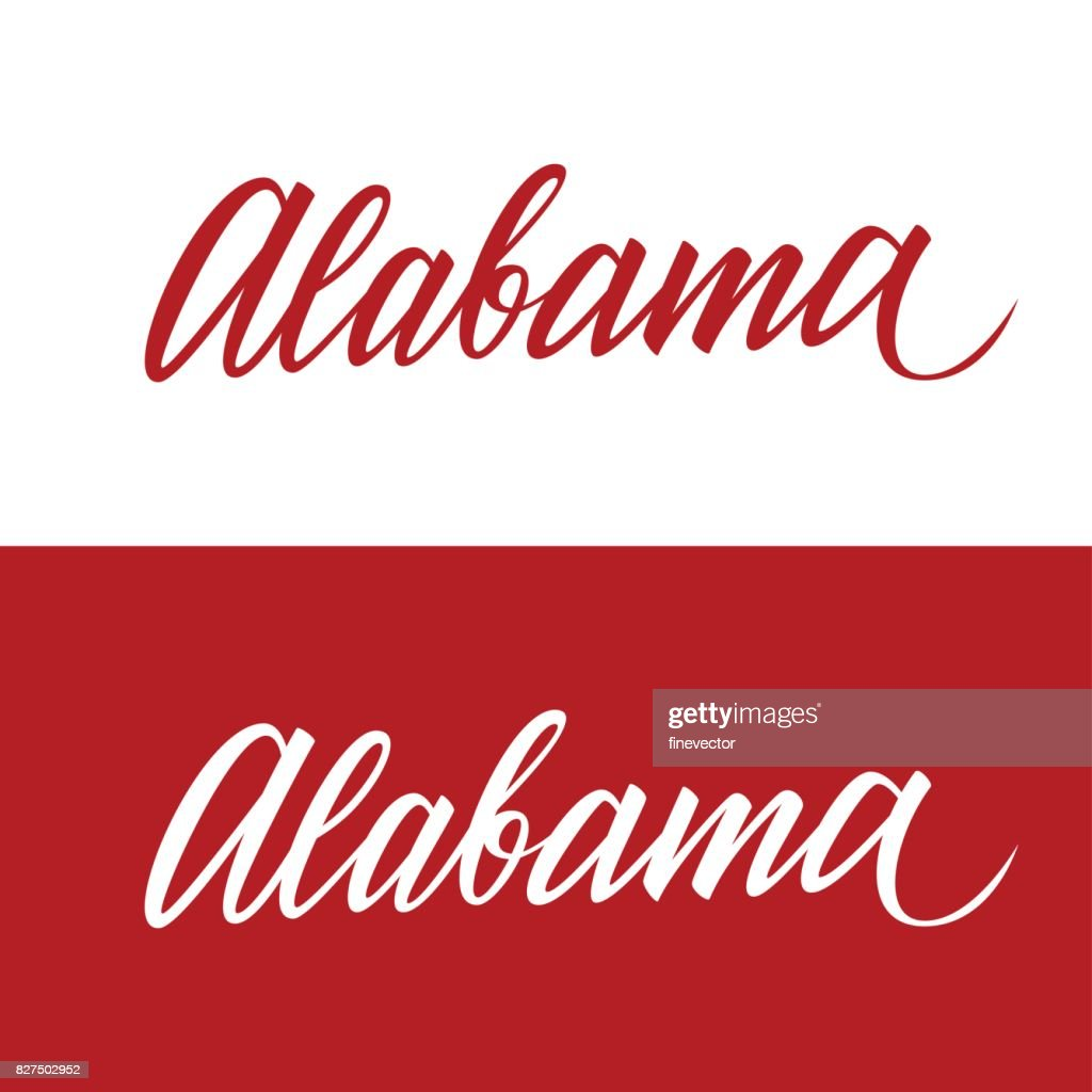 Handwritten U.S. state name Alabama. Calligraphic element for your design.