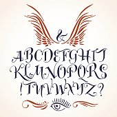 Tattoo letter alphabet clip arts clipartlogo handwritten vector tattoo alphabet thecheapjerseys Image collections
