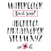Handwritten watercolor calligraphic font. Modern brush lettering