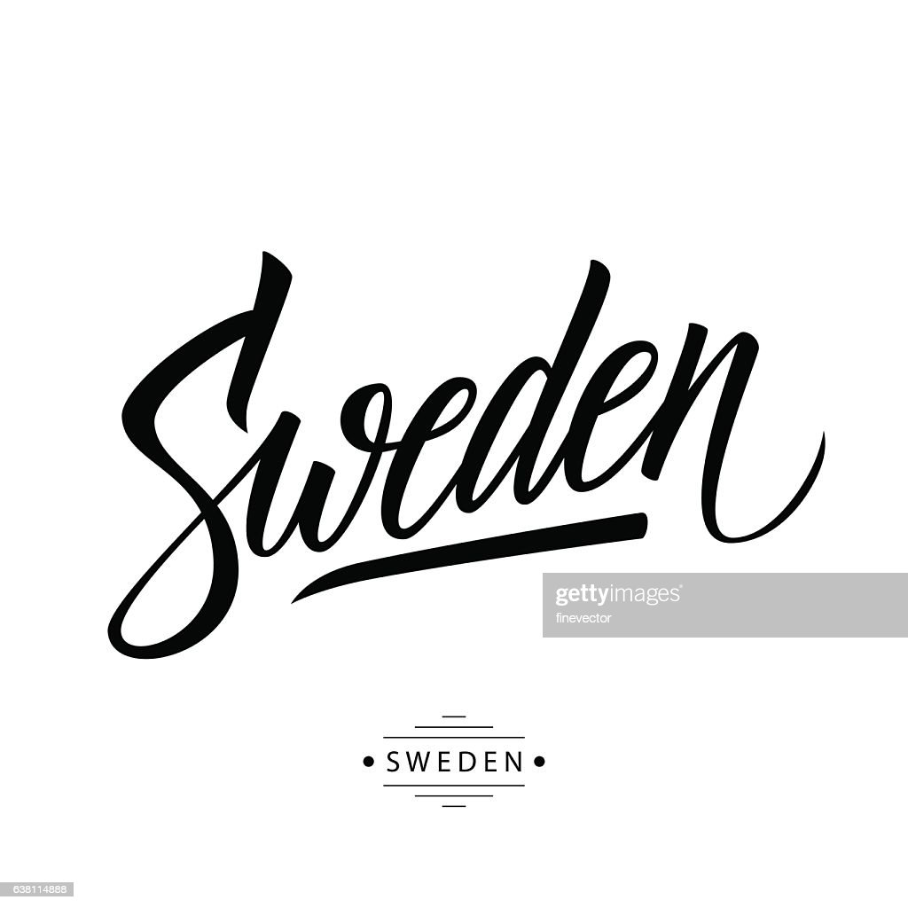 Handwritten word Sweden. Hand drawn lettering.