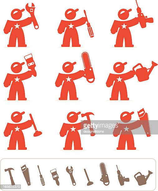 handyman icons - plunger stock illustrations, clip art, cartoons, & icons