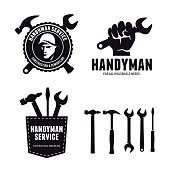 Handyman labels badges emblems and design elements. Carpentry related vector