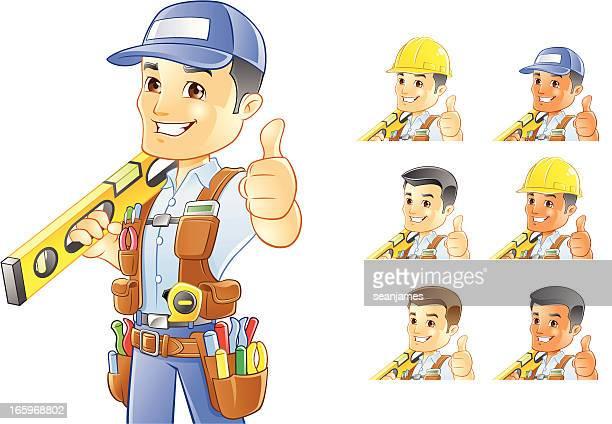 ilustrações, clipart, desenhos animados e ícones de operador, consertador, trabalhador de construção com o nível - cinto de ferramentas