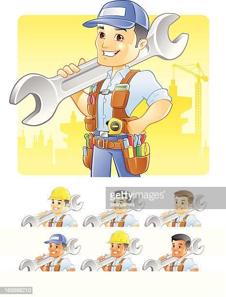 ilustrações, clipart, desenhos animados e ícones de operador, consertador, construção trabalhador com chave de - cinto de ferramentas