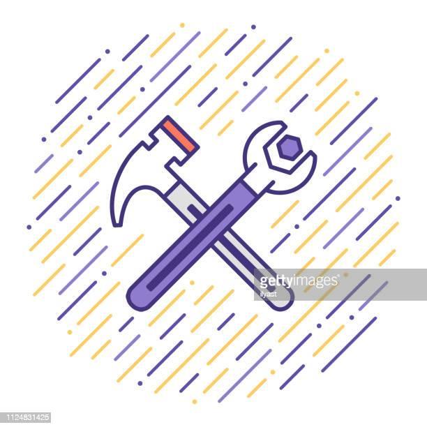 ilustrações, clipart, desenhos animados e ícones de faz tudo serviços linha plana icon ilustração - estereótipo de classe trabalhadora