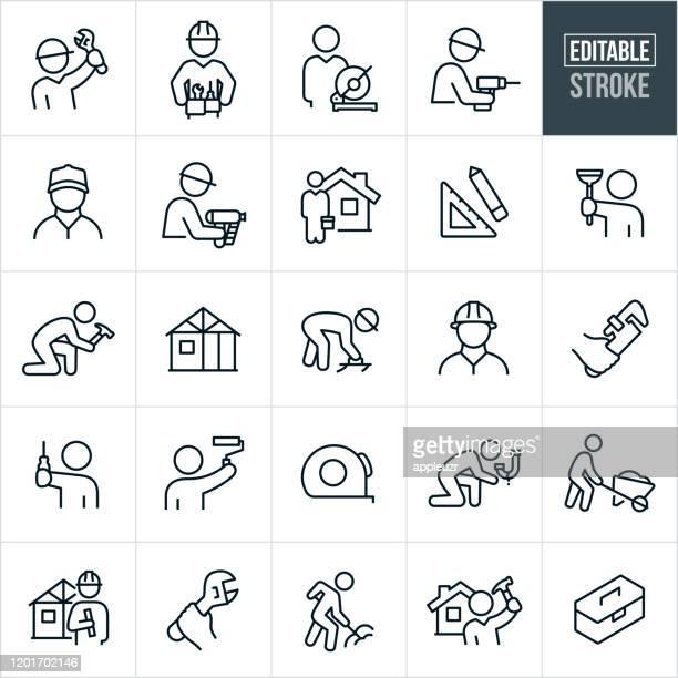 ilustrações, clipart, desenhos animados e ícones de ícones da linha fina do handyman - golpe editado - cinto de ferramentas