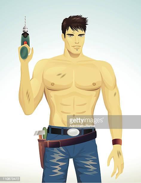 handyman - abdominal muscle stock illustrations, clip art, cartoons, & icons