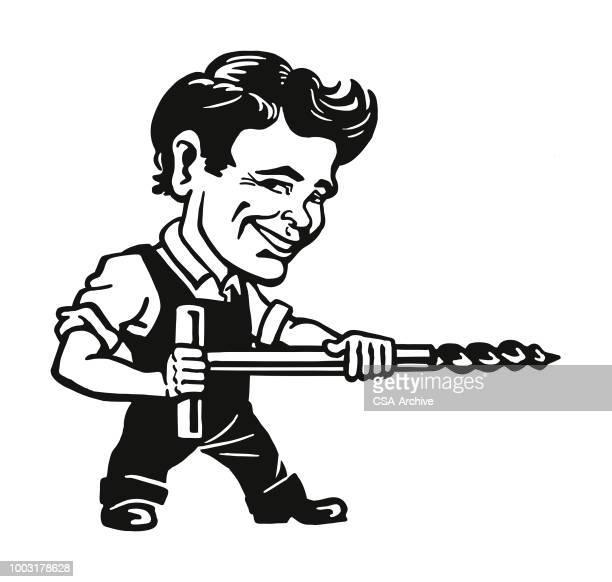 Handyman with a Huge Drill Bit