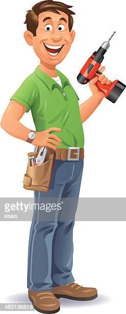 handyman with drill - tool belt stock illustrations, clip art, cartoons, & icons