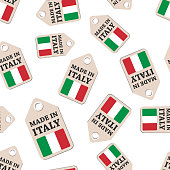 Hang tag made in Italy sticker seamless pattern background. Business flat vector illustration. Made in Italy sign symbol pattern.