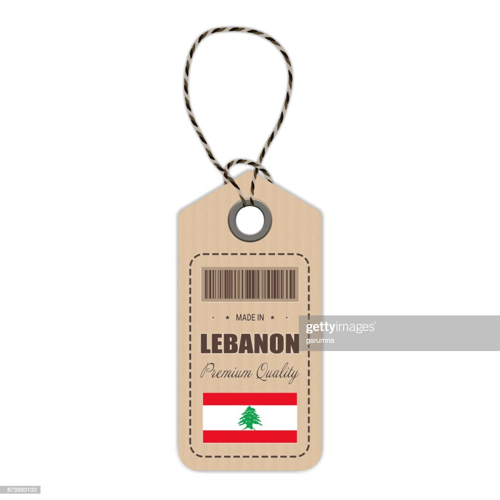Hang Tag Made In Lebanon With Flag Icon Isolated On A White Background. Vector Illustration