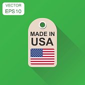 Hang tag made in USA with flag icon. Business concept manufactued in USA. Vector illustration on green background with long shadow.