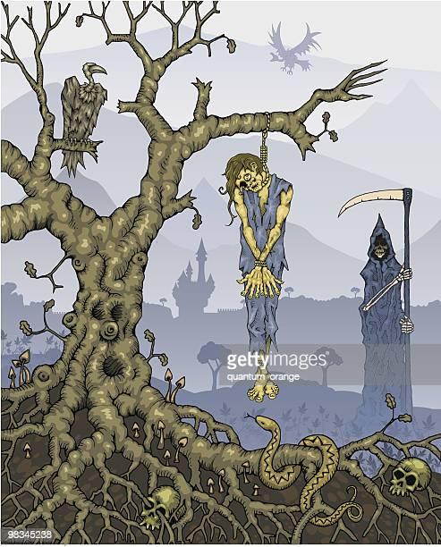 Hanged Corpse na árvore com a morte em segundo plano
