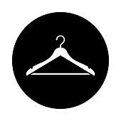 Hanger circle icon. Black, round, minimalist icon isolated on white background.