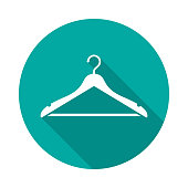 Hanger circle icon with long shadow. Flat design style.