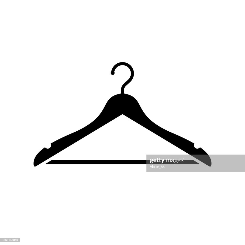 Hanger icon. Black, minimalist icon isolated on white background.