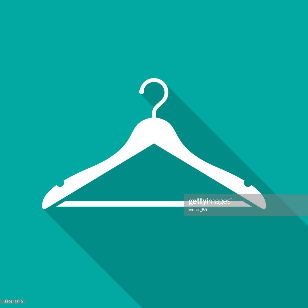 Hanger icon with long shadow. Flat design style.